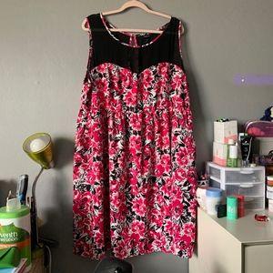 Torrid Pink Black Sleeveless Rose Print Dress s 26